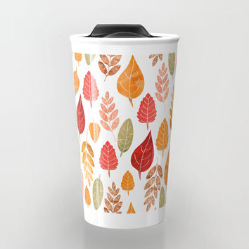 Painted Autumn Leaves Pattern Travel Mug by Tanyadraws