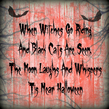 Halloween Quote, Digital Art Print, Home Decor, Ready to Frame, Spooky, Wall Hanging, Bat, Orange, Fall, Black, Kids, Classroom, School