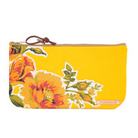 Yellow Canvas Floral Clutch/ Zipper Pouch Purse/ Vintage Floral Applique/ Gift Idea/ Pencil Case/ Cosmetic Bag/ Purse Organizer/ Makeup Bag