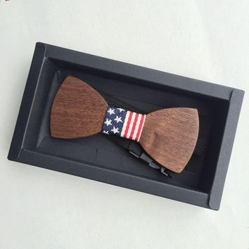 Red, White & Blue American Flag Wooden Bow Tie