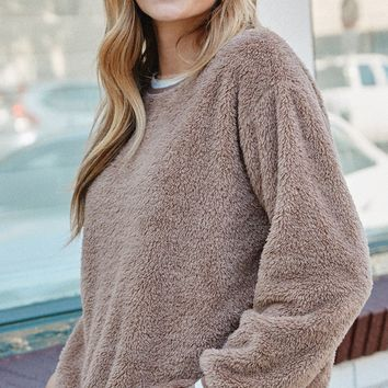 Solid Faux Fur Long-Sleeve Crew Neck Sweater Taupe