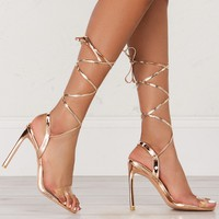 Strap Up Ankle Heeled Sandals in Rose Gold