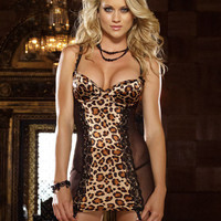 Hot Deal Cute On Sale Leopard Sexy Spaghetti Strap Dress Sleepwear Exotic Lingerie [6595882179]