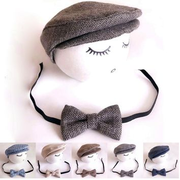 Baby Boy Hat+Tieback Newborn Photography Prop Cute Baby Hat Newborn Baby Costume #P2008