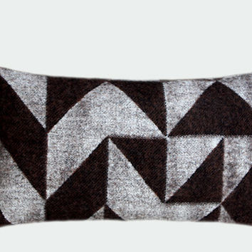"""Real Pure Grey-Brown Wool Lumbar pillow cover with geometric patterns, fits12""""x20"""" insert."""