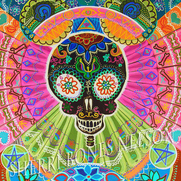 Trippy Skull Poster Psychedelic Art Print neon op art 70s Home Decor Sugar Skull illustration