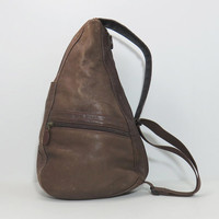 Vintage LL Bean leather sling cross body bag - Brown leather LLBean day pack - cross-body purse - Leather healthy pack back pack