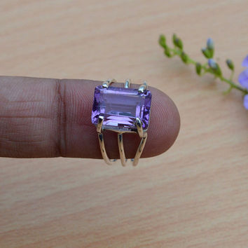 Amethyst 925 Silver Ring, Three Band Ring, Gift for her, Purple Gemstone Ring, Prong Set Ring, Amethyst Jewelry Ring, Cushion shape Ring