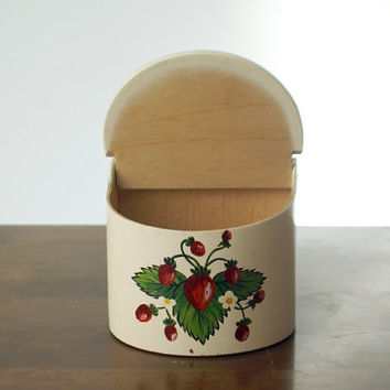 100% handmade wood salt or flour container with handpainted strawberry depictions (1960s)