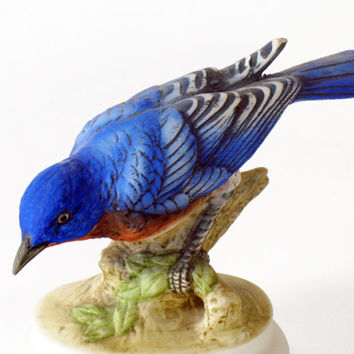 Bluebird Figurine by Lefton, Collectible Porcelain Figural Bird Art, Vintage, 1970s, KW 395