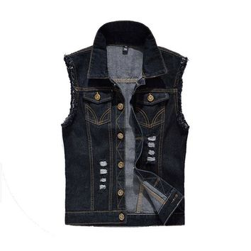 Trendy Brand New 6XL Mens Denim Sleeveless jacket Fashion Retro Vintage Hole High Quality Fit Slim Casual Vest Men Waistcoat  AE2200 AT_94_13