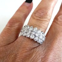 CZ Signed FAS 925 Sterling Silver Cluster Cocktail Ring Size 7-1/4 (4.3g)