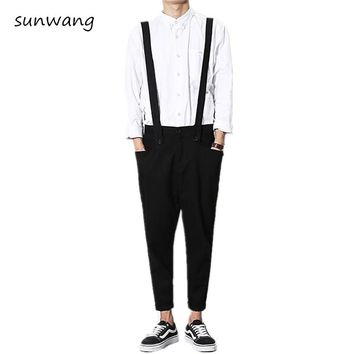 Mens Casual Fashion Black Khaki Cool Bib Ankle Pants Pantalon Homme Mens Trousers Harem Pants Men Jumpsuit Overalls Pants
