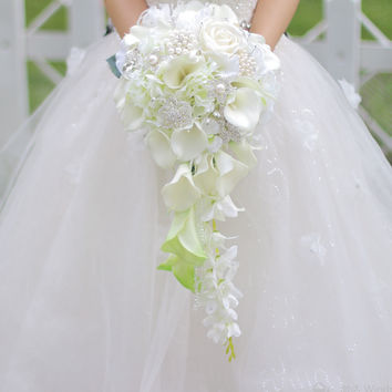 Waterfall style bouquet Fashion PE Crystal Artificial Bride Hands Holding Calla Flower Wedding Bridal Bouquet green buque