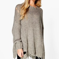 Harriet Oversized Distressed Jumper | Boohoo