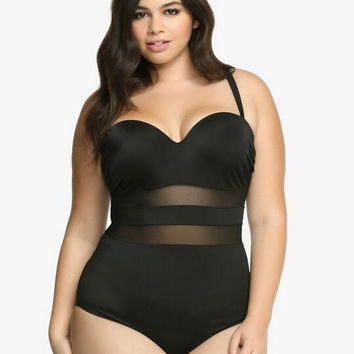 Black  Mesh  Push Up One Piece Swimsuit - Plus Size
