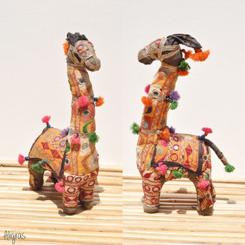 Vintage Kutch Giraffe • India Animal • 1950s Handmade Toy • Embrodiered Animal Figure • Home Decor