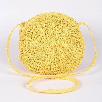 The Sun Straw Round Purse Yellow