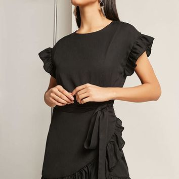 Ruffle Wrap-Front Dress