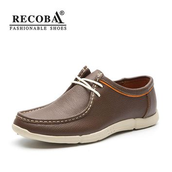 Men shoes casual 2018 spring New genuine leather brown casual shoes men big size lace up 45 flat slip on loafers wallabee shoes