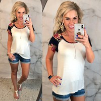 Floral Sleeve Baseball Top: Navy