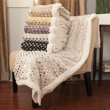 "Luxurious Plush Polka Dots Blanket, 50"" X 60"""