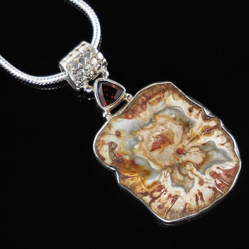 Petrified Wood & Garnet Sterling Silver Pendant/Necklace