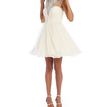 Savannah Nights Illusion Beaded Yoke Party Dress | Dillards