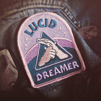 """Lucid Dreaming Patch - Metaphysical Fashion Accessory - 3"""" Iron On Embroidered Patch - Dreamy Blue Hazy Pink  for Consciousness Explorers"""