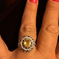 Unique Citrine and Black Spinal Sunflower Ring