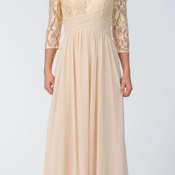 Mid-Length Sleeves V-Neck Long Formal Dress Champagne
