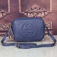 Gucci Fashion Casual Women Shopping Fashion Leather Shoulder Bag Blue G