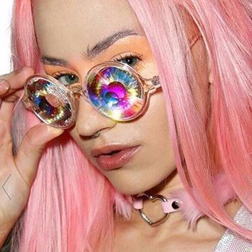 Fashion Round Kaleidoscope Sunglasses Men Women 4D Glass Crystal Psychedelic Cosplay Party Club Cool Glasses Retro Mosaic gafas