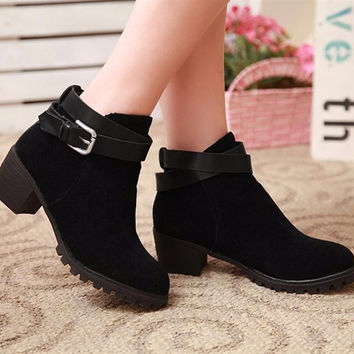 Ankle Boots Square Heels Pointed Toe Cowboy Shoes Boots