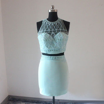 Real Work Mint Green Beading Scoop Neck Two Pieces Sheath Cocktail Dress 2017