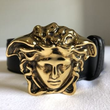 Versace Black Leather Belt with Raised Gold Medusa Head Buckle DCU4140 Size 105