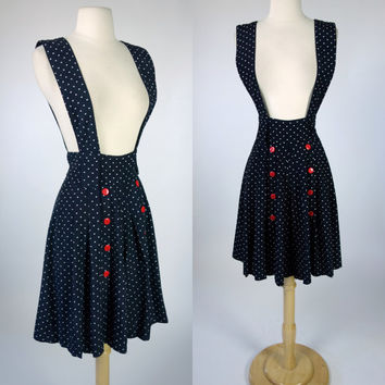 1980s black suspender jumper dress, square polka dot skorts shorts, romper with red buttons, small to medium, US size 6 to 8