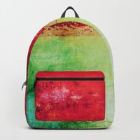 Modern Texture Red Abstract Backpack by Sheila Wenzel