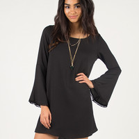 Pom Pom Trim Bell Sleeve Dress - Medium