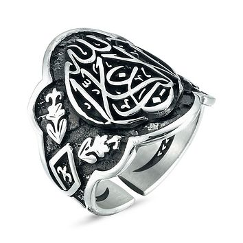 Mens 925 sterling silver thumb ring with calligraphy writing