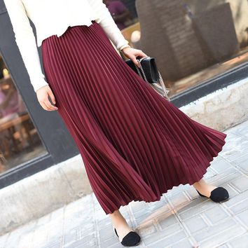 Sherhure Women Skirt Vintage Long Skirt Saias High Waist Women Maxi Skirt Saia Longa Falda Pleated Skirt Jupe