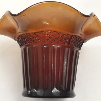 Northwood Carnival Glass Amethyst Hat Vase, Diamond Band, Vintage Collectible Glass