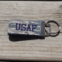 Embroidered Mini US Air Force key fob, ABU Digital Camo Print, Navy Blue embroidery