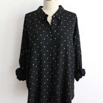 Vintage 80s Oversized Black & Gold Metallic Polka Dot Blouse // XL Top