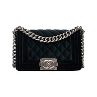 Chanel Small Boy Rabat Black Quilted Velvet