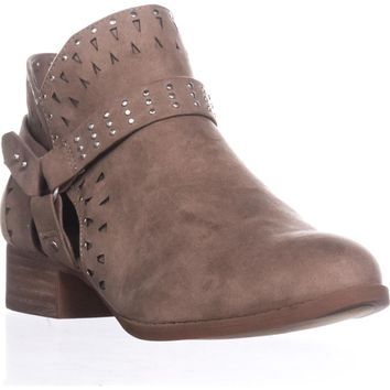 madden girl Ariizona Side-Zip Ankle Booties, Taupe, 8.5 US