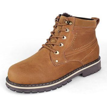 WE STOCK UP TO SIZE 15: Handmade Men's Boots Real Cow Leather Shoes For Man Western Ankle Boots Winter Warm Snow Bota Plus Size 45-50