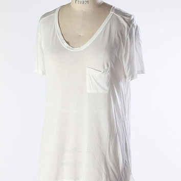 V Neck Pocket Tee in White