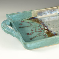 Rectangular Serving tray in Turquoise handmade by Hodakapottery