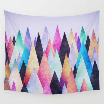 Colorful Abstract Geometric Triangle Peak Wood's Wall Tapestry by Badbugs_art